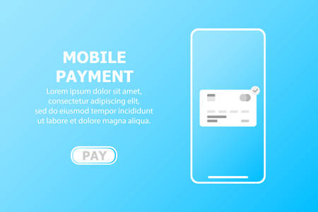 Mobile payment card. The text is written on a blue background.