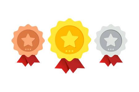 Three awards of varying degrees on a white background. Ilustrace