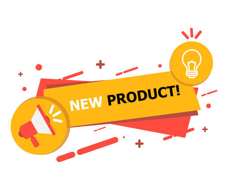 A banner with a hole and a yellow-red lamp on which it is written New Product curated on a white background. Ilustrace