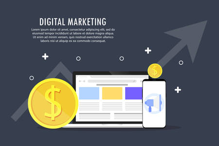 The development of digital marketing. Objects on a gray background.
