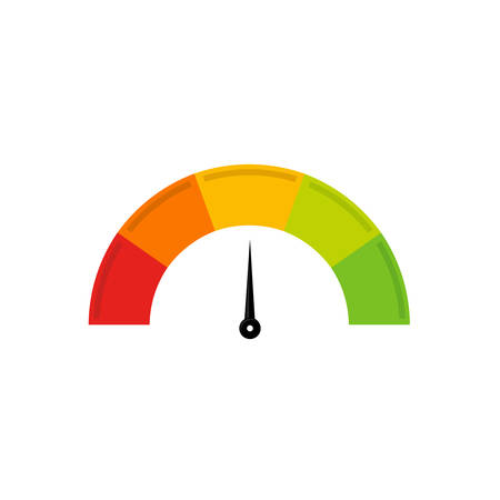 The arrow of the speedometer shows up in the middle on a white background. Ilustrace
