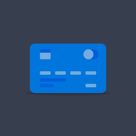 The blue payment card is depicted on a gray background.