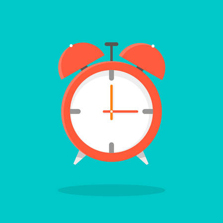 The alarm clock is shown on a blue background. Ilustrace
