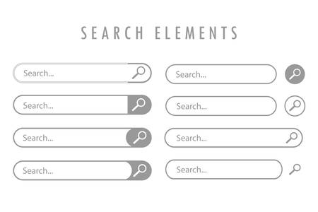 Gray, different design elements of search are depicted on a white background.