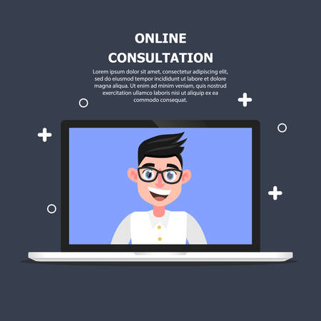 The doctor is depicted on a computer and advises the client online.