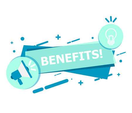A banner of blue on a white background that says BENEFITS. Ilustrace