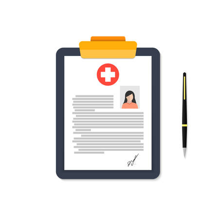 A tablet of a medical card of a woman on a white background.