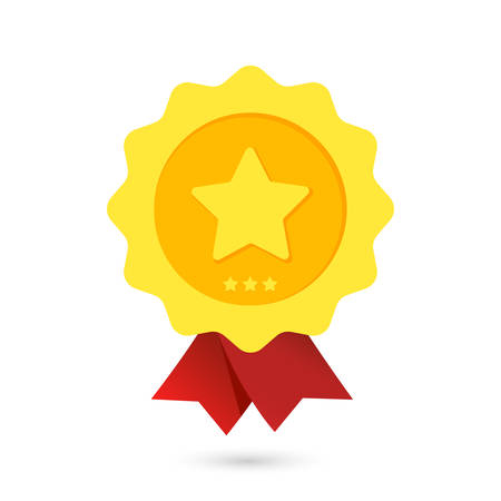 Gold reward with a star on a white background.