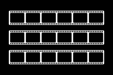 Three white video films of different sizes are shown on a black background.