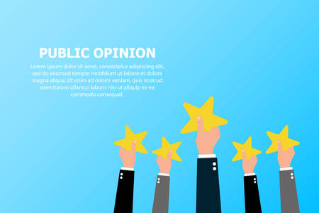 The public opinion of many people is depicted on a blue background and the text on the top left.