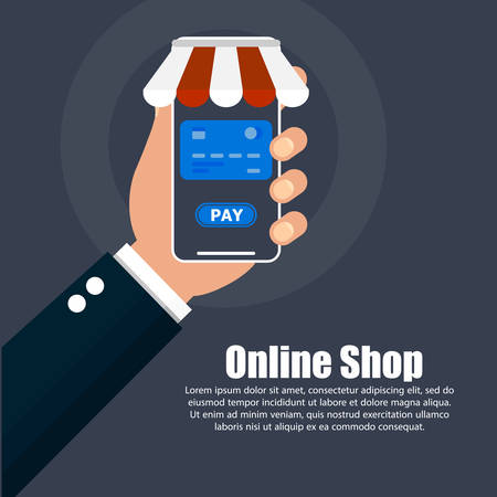 The hand holds the phone with online shopping and text on the right. Ilustrace
