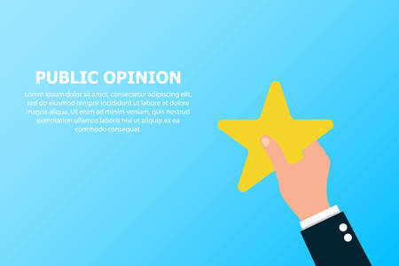 Public opinion is depicted on a blue background in one hand.
