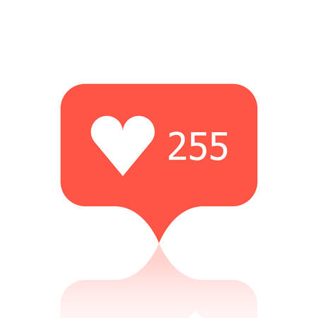 Red mark with 255 likes on a white background. Illustration