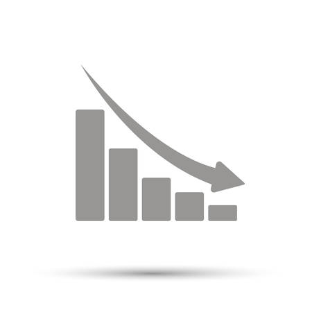 Declining graph sign. Black line icon with gray shifted flat filled icon on white background. Illustration.