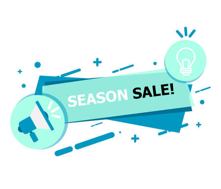 A banner of blue on a white background that says SEASON SALE.