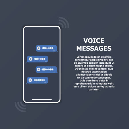 Voice messages on the phone screen and text on the right. Ilustrace