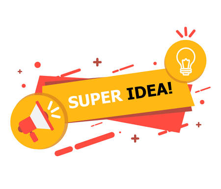 A banner with a hole and a yellow-red lamp on which it is written Super Idea curated on a white background. Ilustrace