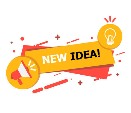 A banner with a hole and a yellow-red lamp on which it is written New Idea curated on a white background.