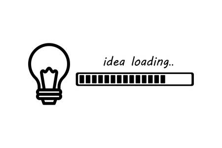 Light bulb in the form of an idea that loads the image on a white background. Ilustrace