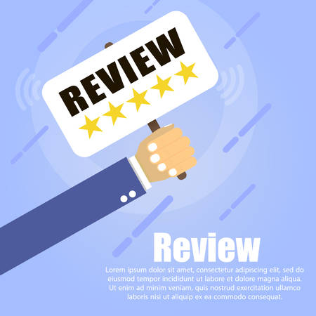 the hand holds a table containing five golden stars and is written REVIEW on a blue background. Below it is written the text Review. Ilustrace