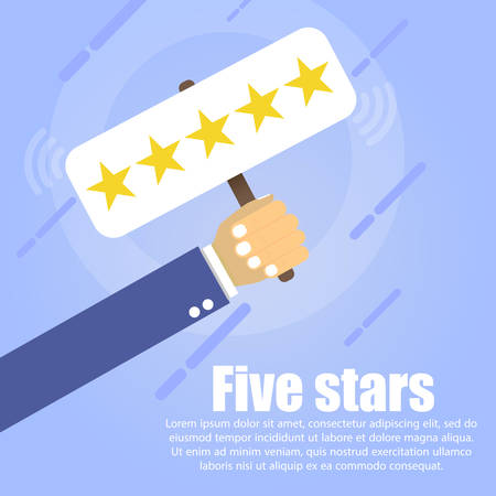 A hand holds a table where five golden stars on a blue background. Below it is written the text Five stars.
