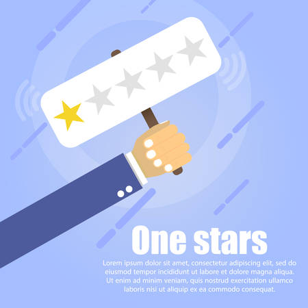 A hand holds a table where two golden stars on a blue background. Below it is written the text One stars. Vettoriali