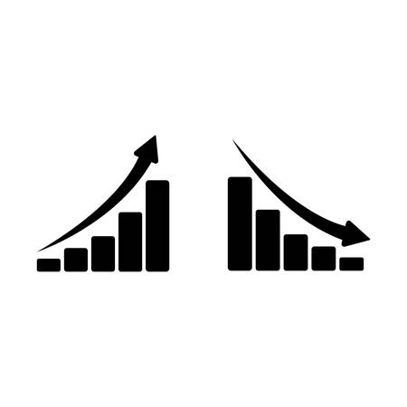 Two icons of black charts. One grows, another falls. White background.  イラスト・ベクター素材