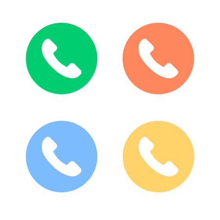 Four icons with a different colored phone are depicted on a white background.
