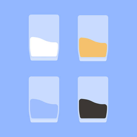 Four glasses with different fluids are depicted on a blue background. Ilustrace