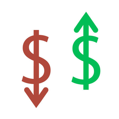 Two cash currencies are depicted on a white background. One grows up, another down.
