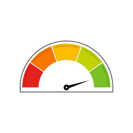 Speedometer icon. Info-graphic. Right position. White background.