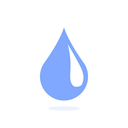 A blue drop of water with a tick is depicted on a white background and under it a shadow.