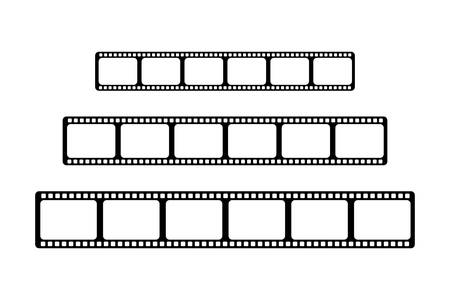 Three video films of different sizes are arranged side by side on a white background.