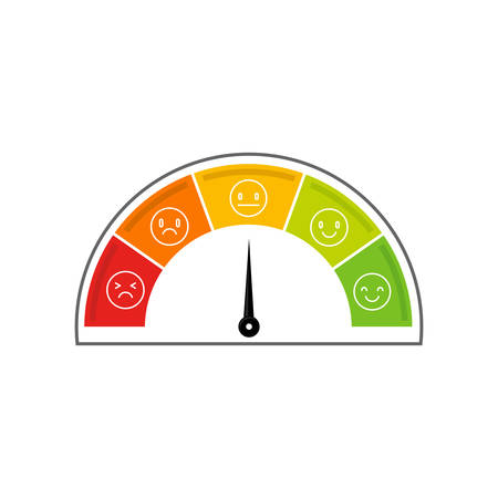 Speedometer icon. Colorful Info-graphic. It shows a different mood.  イラスト・ベクター素材