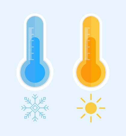 Two realistic thermometers are depicted on a blue background. One shows cold weather and a snowflake near him, and the other shows hot weather and the sun is around him.  イラスト・ベクター素材