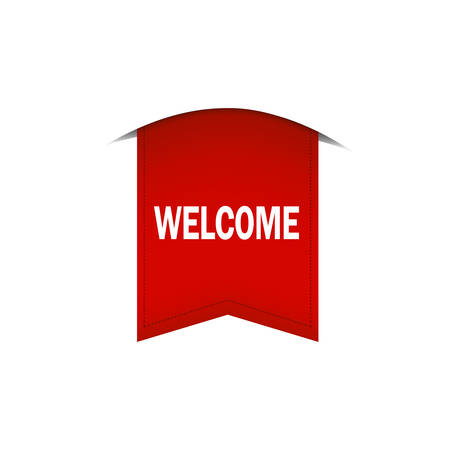 The red tape on which is written Welcome is depicted on a white background. Ilustrace