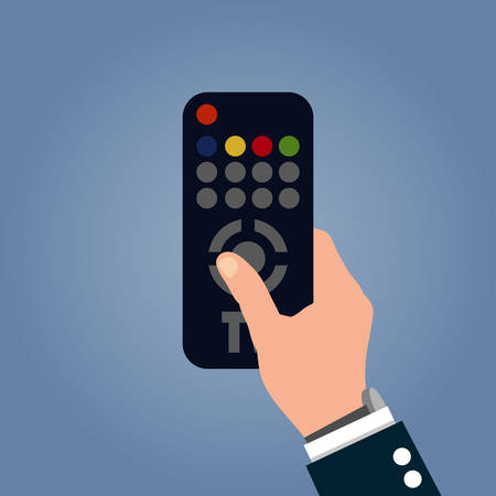 Human hand with black modern remote TV Control. Vector illustration in flat style on blue background  イラスト・ベクター素材