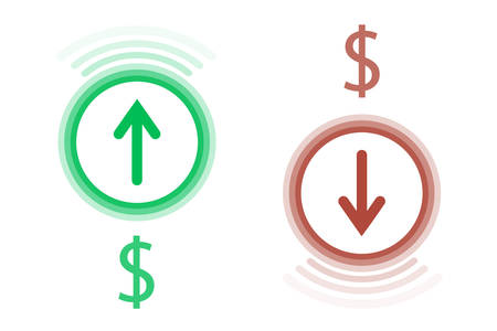 Two signs of green and red fall and growth of the currency are depicted on a white background.