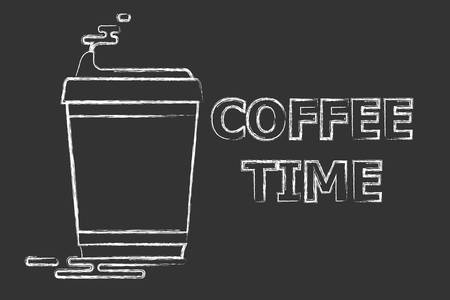 A cup of coffee and a text near her on a black background. Coffee time  イラスト・ベクター素材