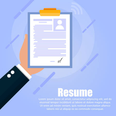 The hand holds a tablet from a person's resume with a photo on a blue background. Below text is written.
