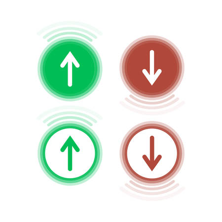 Four signs of red and green colors showing the movement of trust and down.