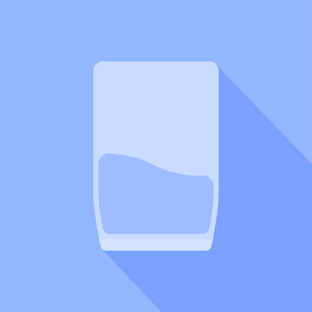 A glass of water is depicted on a blue background.  イラスト・ベクター素材