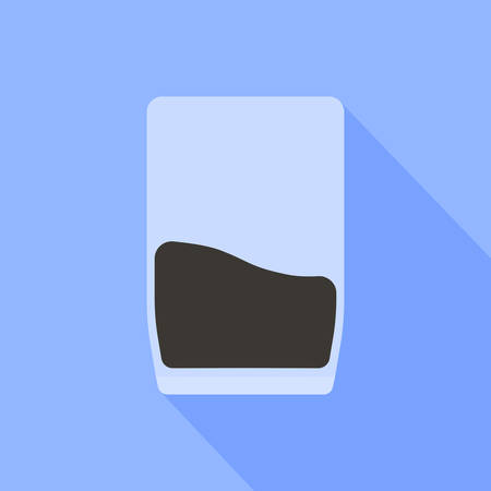 A glass of coffee is depicted on a blue background.  イラスト・ベクター素材