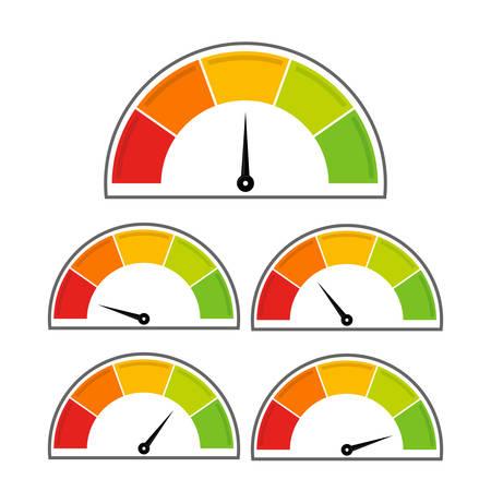 Cinque icone del tachimetro. Infografica colorata. Sfondo bianco.