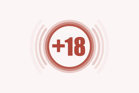 Red mark that prohibits age category 18 on a red background.