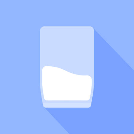 A glass of milk is depicted on a blue background.  イラスト・ベクター素材