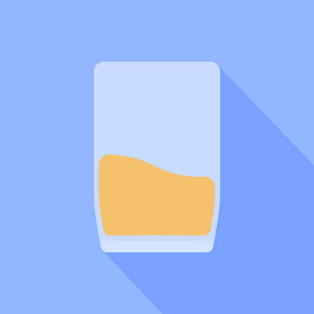 A glass of juice is depicted on a blue background.