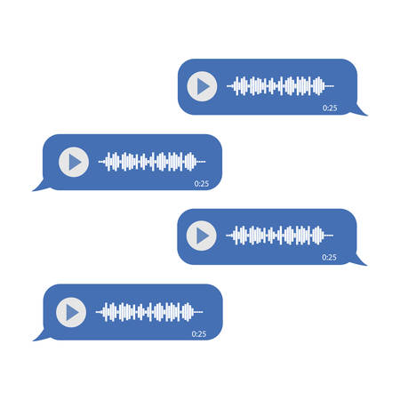 Chat on voice messages. On a white background. Blue messages Reklamní fotografie - 132814282