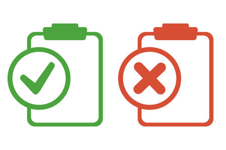 Two tablets. One green, one red. One is affirmative, the other is negative. There are no stripes for writing text on the two.