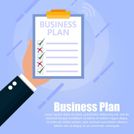 The hand holds a tablet with a business plan document on a blue background. Below text is written. Ilustrace